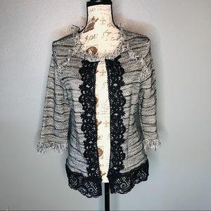 Chico's Women's Tweed Blazer Black & Grey size 2